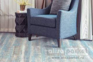 Фото Паркетная доска Corkstyle Wood Plus Color Lazurite Blue в интерьере